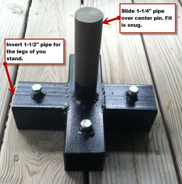 "5-way Stand to hold a 1-1/4"" Pole vertically and use 1-1/2"" pipe for legs of stand (Big Foot)"