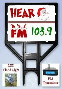 Hear Santa FM Sign, FM Transmitter and LED Flood Light Bundle