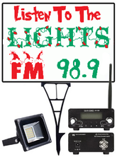 Listen To The Lights FM Radio Frequency Sign Frame Holder, LED Flood light with FM Transmitter Bundle ( Black Frame )
