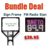 Fm Radio Frequency Sign and Sign Holder Bundle ( Black Frame )