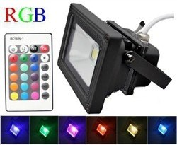 High Power 10W Waterproof RGB LED Floodlight Lamp with Remote Controller 12v