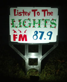 Listen To The Lights FM Radio Frequency Sign Frame Holder, LED Flood light with FM Transmitter Bundle