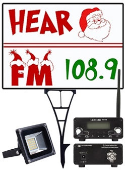 Hear Santa FM Radio Frequency Sign Frame Holder, LED Flood light with FM Transmitter Bundle
