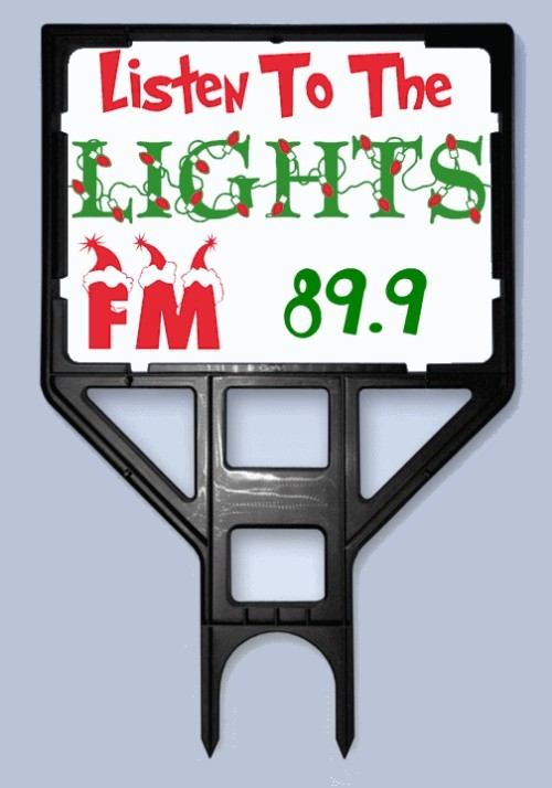Listen To The Lights FM Radio Frequency Sign and Frame Holder Bundle ( Black Frame )