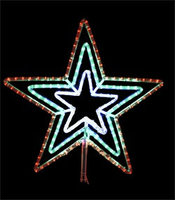 "LED 3 channel Star Flare Red, Green, and White (24"" tall)"