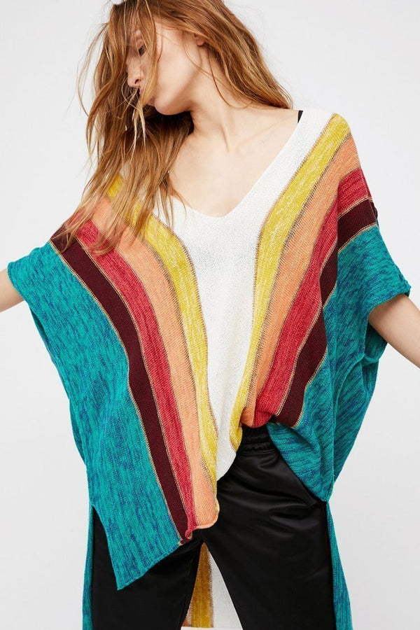 Rainbow Striped Batwing Sleeve Knit Tunic Cover Up