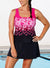 PINK EXPLODED FLORAL SPORT TANKINI WITH SKIRT