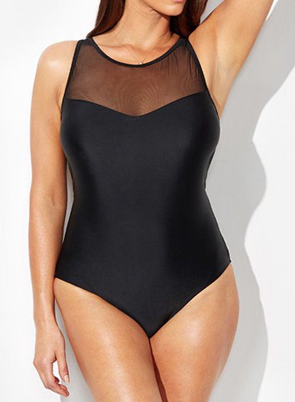 BLACK MESH HIGH NECK ONE PIECE SWIMSUIT