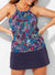 CORTLAND HIGH NECK TANKINI WITH NAVY SKIRT