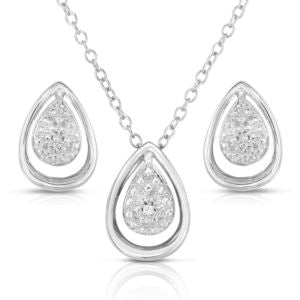 Diamond Tear Drop Earring & Necklace Set