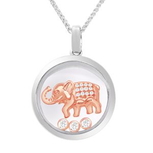 Round Pendant with studded Elephant in the center along with floating CZ Diamond