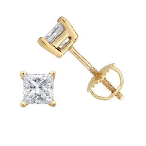 Certified PARIKHS Princess Cut  Diamond Screw Back Stud 18K Yellow Gold 0.30ct HIJ Color,VS2 Clarity