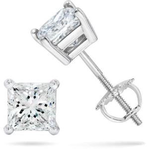 Certified PARIKHS Princess Cut  Diamond Screw Back Stud 14K White Gold 0.35ct IJ Color,SI2 Clarity