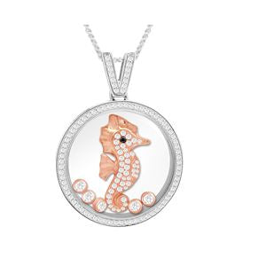 Round CZ Diamond studded border Pendant has a Rose color studded Sea Horse with floating CZ.