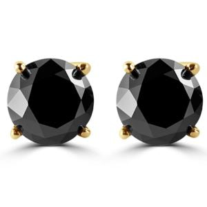 PARIKHS Black Round Diamond Stud in 14K Yellow Gold, 0.60ct