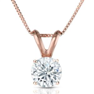 PARIKHS Round Premium Diamond Pendant 14K Rose Gold 0.06ct IJ Color, SI2 Clarity