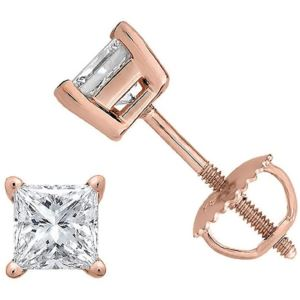 Certified PARIKHS Princess Cut  Diamond Screw Back Stud 14K Rose Gold 0.15ct HIJ Color,VS2 Clarity
