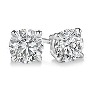 PARIKHS Round Popular Diamond  Stud 10K White Gold 0.15ct IJK Color,I2 Clarity