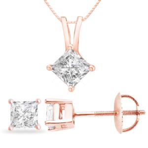 Certified PARIKHS Princess Cut Diamond Screw back Set 14K Rose Gold 0.85ct HIJ Color, VS2 Clarity