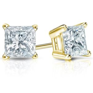 PARIKHS Princess Cut Privilege Diamond  Stud 18K Yellow Gold 0.10ct HIJ Color,VS2 Clarity