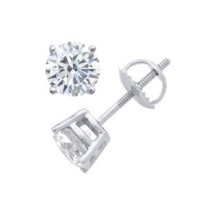 Certified PARIKHS Round  Diamond Screw Back Stud 18K White Gold 0.85ct IJK Color,I2 Clarity