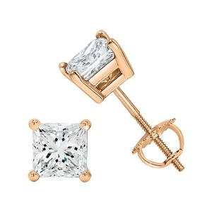Certified PARIKHS Princess Cut  Diamond Screw Back Stud 14K Rose Gold 0.75ct IJK Color,I2 Clarity