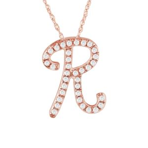 PARIKHS Diamond Initial Pendant Alphabet 'R' in 14K Rose Gold over Sterling Silver 0.15 ct , IJK-I3