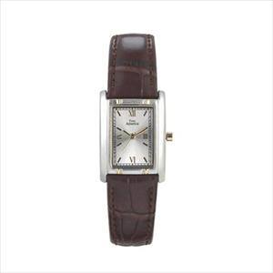 Women's Two-Tone Tank Style Leather Strap Watch