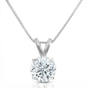 Certified PARIKHS Round Prime Diamond Pendant 14K White Gold 0.90ct IJK Color, I1 Clarity