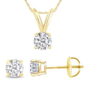 Certified PARIKHS Round Diamond Screw Back Set 18K Yellow Gold 0.30ct HIJ Color, VS2 Clarity