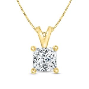 Certified PARIKHS Princess cut Promo Diamond Pendant 14K Yellow Gold 0.65ct IJK Color, I3 Clarity