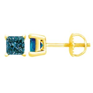 PARIKHS Blue Princess cut AAA Quality Diamond Screw back Stud in 10k Yellow Gold 0.12ct