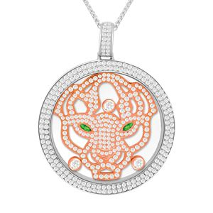 Round CZ Diamond studded border Pendant has a rose color studded Lion face with green eyes.