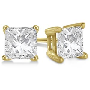Certified PARIKHS Princess Cut Prime Diamond  Stud 14K Yellow Gold 0.60ct IJK Color,I1 Clarity