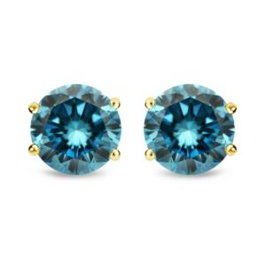 Certified PARIKHS Blue Round AA Quality Diamond Stud in 14k Yellow Gold 0.85ct