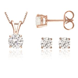 Certified PARIKHS Round Prime Diamond Set 14K Rose Gold 0.75ct IJK Color, I1 Clarity