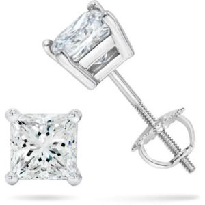 PARIKHS Princess Cut  Diamond Screw Back Stud 10K White Gold 0.20ct IJK Color,I2 Clarity