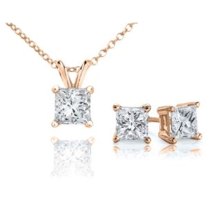 Certified PARIKHS Princess Cut Prime Diamond Set 14K Rose Gold 1.00ct IJK Color, I1 Clarity