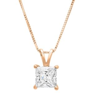 Certified PARIKHS Princess cut Privilege Diamond Pendant 14K Rose Gold 0.10ct HIJ Color,VS2 Clarity