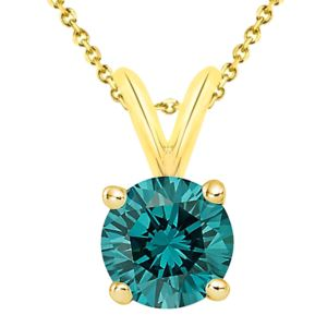 PARIKHS Blue Round AA Quality Diamond Pendant in Yellow Gold over Sterling Silver, 0.09ct