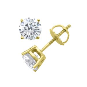 Certified PARIKHS Round  Diamond Screw Back Stud 18K Yellow Gold 0.80ct IJK Color,I1 Clarity