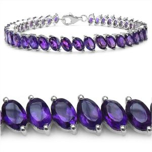 PARIKHS 18.06 Carat African Amethyst Bracelet in 18K white Gold over Sterling Silver - 7.50 inch