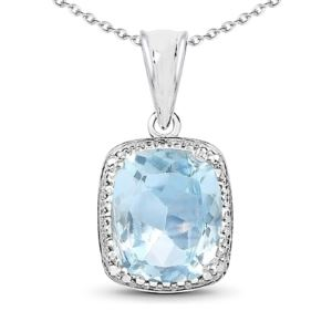 PARIKHS 4.70 Carat Genuine Blue Topaz Pendant with chain in 18K White Gold over Sterling Silver