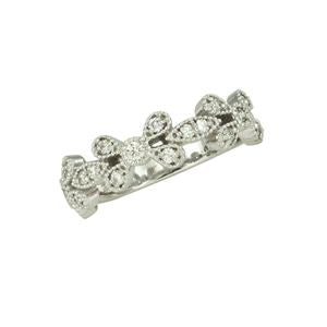 Vintage Floral Diamond Fashion Band in White Gold