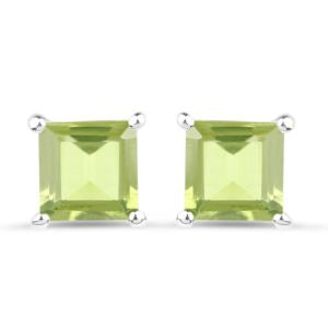 PARIKHS 0.72 Carat Peridot Square Stud Earring in 18K White Gold over Sterling Silver