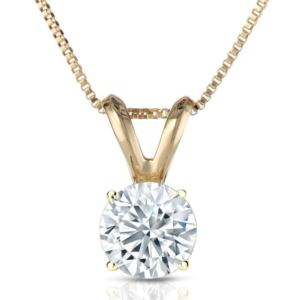 Certified PARIKHS Round Promo Diamond Pendant 14K Yellow Gold 0.45ct IJK Color, I3 Clarity
