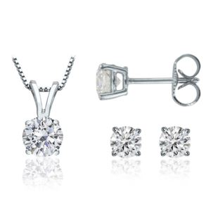 PARIKHS Round Promo Diamond Set 925 Sterling Silver White Gold 0.20ct IJK Color, I3 Clarity