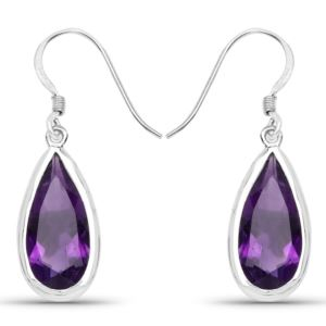 PARIKHS 10.10 Carat Genuine Amethyst Earrings in 18K White Gold over Sterling Silver