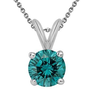 PARIKHS Blue Round AA Quality Diamond Pendant in White Gold over Sterling Silver, 0.18ct