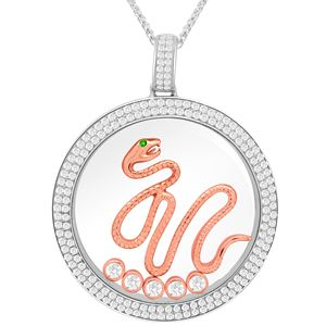 Round CZ Diamond studded border Pendant has a Rose color Snake with green CZ Diamond eye.